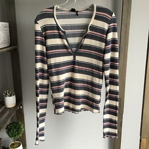 Urban Outfitters Ribbed Stripe V Neck Long Sleeve